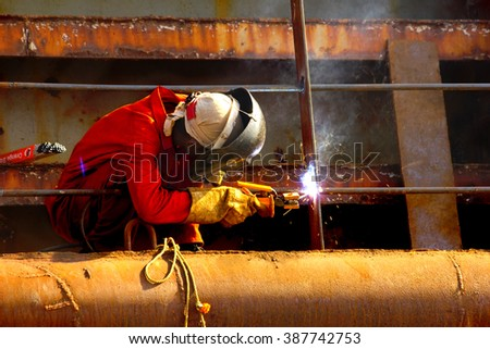 welding - Man at work,work in progress, safety measures in welding,safety in india - stock photo