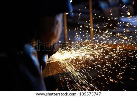 Welding sparks - stock photo