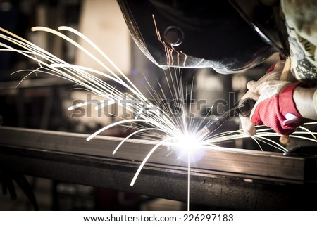 Welding steel - stock photo