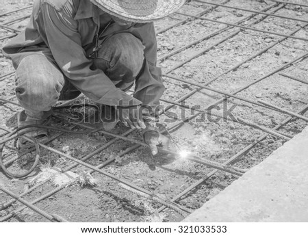 Welding steel structure , black and white - stock photo