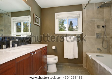 Well designed bathroom with deep earthy toned interior. - stock photo