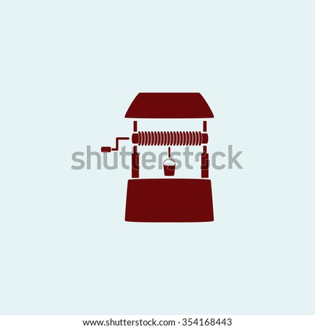 well Red flat icon. Simple illustration pictogram - stock photo