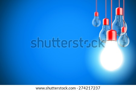 Well rendered Light bulb lamps on blue background - stock photo