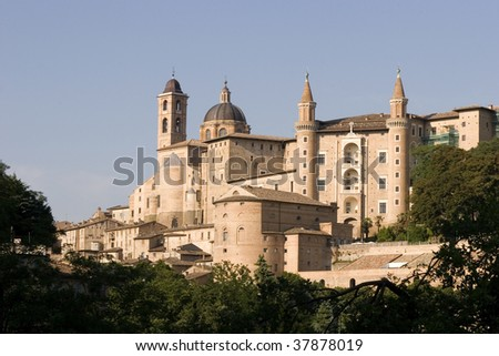 Wella panorama of the city of Urbino - stock photo