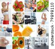 Wellbeing  theme collage composed of different images - stock photo