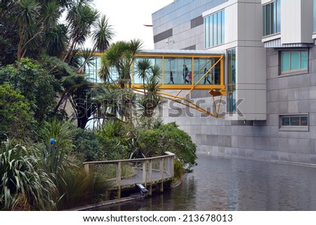 WELLINGTON - AUG 22 2014:Visitors at Museum of New Zealand Te Papa Tongarewa.It is the national museum and art gallery of New Zealand, located in Wellington - stock photo