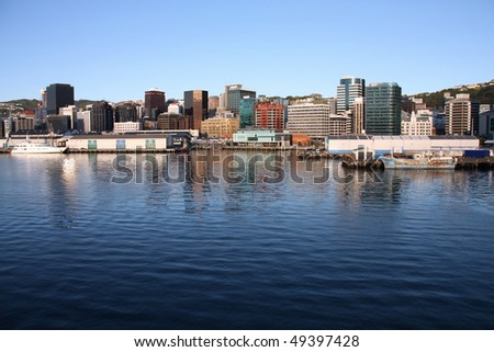 Wellington, capital city of New Zealand. Downtown skyscrapers, financial district. - stock photo