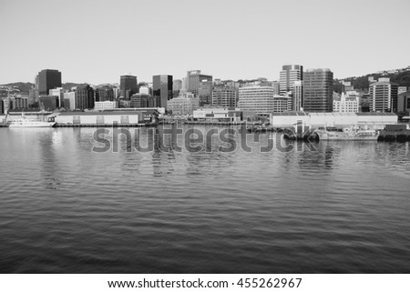 Wellington, capital city of New Zealand. Downtown skyscrapers, financial district. Black and white style. - stock photo