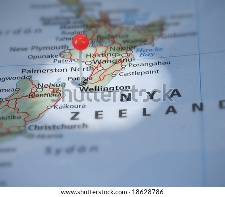 Wellington in new zeeland  on the map with a pin - stock photo