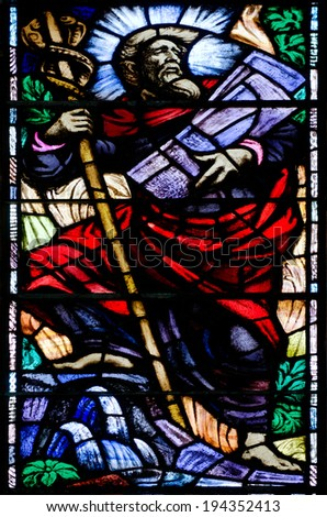 WELLINGTON, NZL- FEB 25 2013:A vitrage window of the Jewish prophet Moses holds the tenth commandments in Wellington Cathedral of St Paul - stock photo