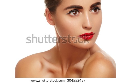 Wellness and spa. Sensual woman model with windswept flying dark hair on white background. Shiny long health hairstyle. Beauty and haircare  - stock photo