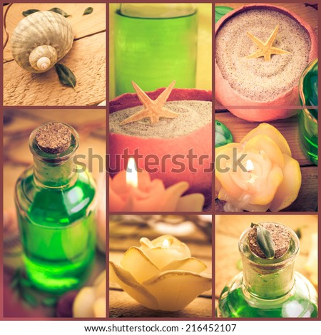 Wellness collage with floral water and bath salt - spa series collage - stock photo