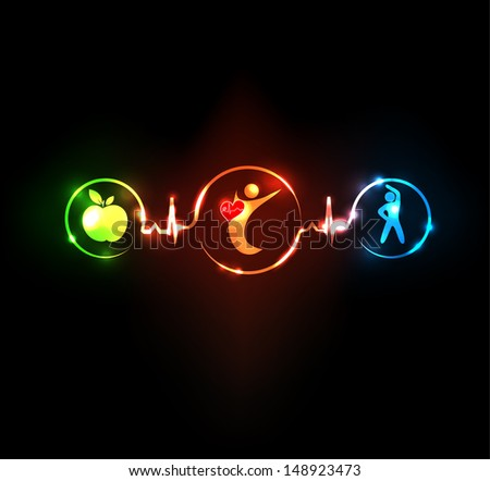 Wellness illustration.  Healthy food and fitness leads to healthy heart and life. Symbols connected with heart rate monitoring line. - stock photo