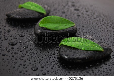 wellness massage or bath concept with zen stones leafes and water drop - stock photo