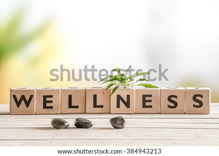 Wellness sign with wooden cubes and flowers and stones - stock photo
