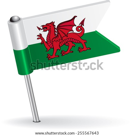 Welsh pin icon flag. Raster version - stock photo