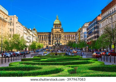 Wenceslas square and National Museum in Prague, Czech Republic - stock photo