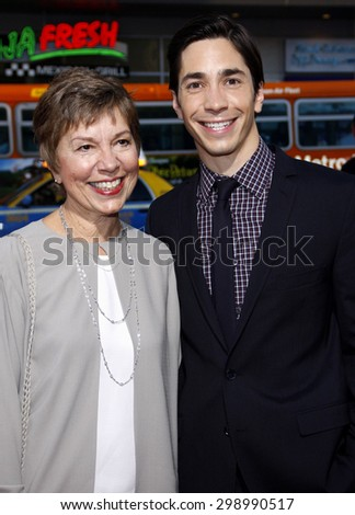 Wendy Lesniak and Justin Long at the Los Angeles premiere of 'Going The Distance' held at the Grauman's Chinese Theater in Hollywood on August 23, 2010.  - stock photo