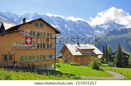 Wengen, beautiful village in swiss Alps - stock photo