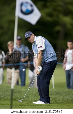 WENTWORTH, ENGLAND. 22 MAY 2009.Ben Curtis (USA) playing in the 2nd round of the European Tour BMW PGA Championship. - stock photo