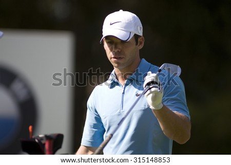 WENTWORTH, ENGLAND. 24 MAY 2009.Paul Casey  on his way to winning  the European Tour BMW PGA Championship. - stock photo