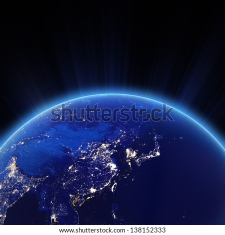West Asia - China, Japan, Corea city lights at night. Elements of this image furnished by NASA - stock photo