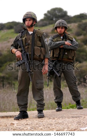 WEST BANK, ISR - JAN 18:Israeli Border Police on Jan 18, 2006.Because of their combat training, border they employed in unique areas, where there are greater risks for riots, violence and even terror. - stock photo