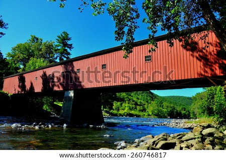 West Cornwall, Connecticut - September 15, 2014:  The 1864 West Cornwall Covered Bridge. also known as Hart Bridge, is a wooden lattice truss bridge over the Housatonic River  * - stock photo