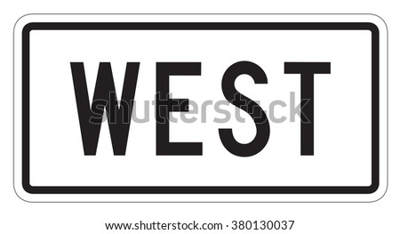 West directional Sign isolated on a white background - stock photo