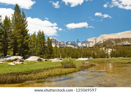 West Face of Mount Whitney seen from Crabtree Meadows in the High Sierra, California, USA. - stock photo