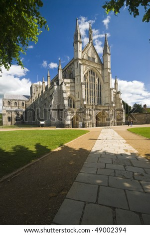 West front of the famous Winchester Cathedral on a beautiful day - stock photo