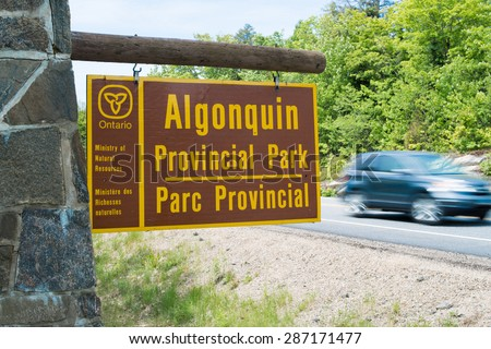 West gate sign to Algonquin Park welcomes visitors - stock photo