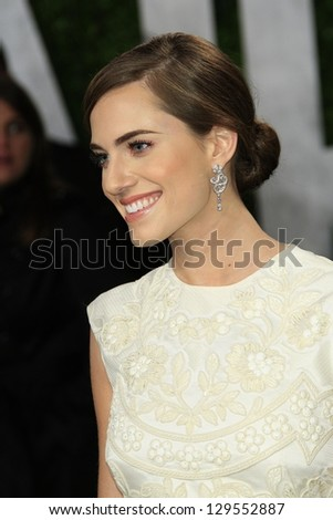 WEST HOLLYWOOD, CA - FEB 24: Allison Williams at the Vanity Fair Oscar Party at Sunset Tower on February 24, 2013 in West Hollywood, California - stock photo