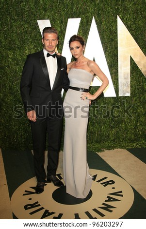 WEST HOLLYWOOD, CA - FEB 26: David Beckham; Victoria Beckham at the Vanity Fair Oscar Party at Sunset Tower on February 26, 2012 in West Hollywood, California. - stock photo