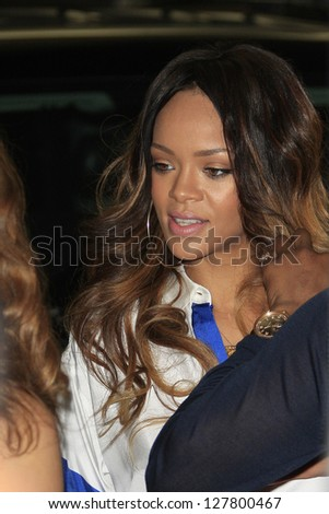 WEST HOLLYWOOD, CA - FEB 9: Rihanna is seen out for lunch before the Grammy awards on February 9, 2013 in West Hollywood, California - stock photo