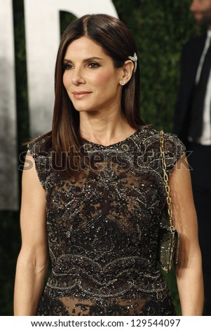 WEST HOLLYWOOD, CA - FEB 24: Sandra Bullock at the Vanity Fair Oscar Party at Sunset Tower on February 24, 2013 in West Hollywood, California - stock photo