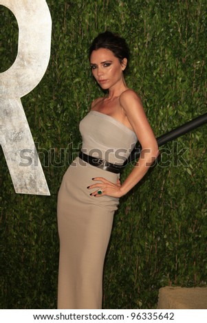 WEST HOLLYWOOD, CA - FEB 26: Victoria Beckham at the Vanity Fair Oscar Party at Sunset Tower on February 26, 2012 in West Hollywood, California. - stock photo
