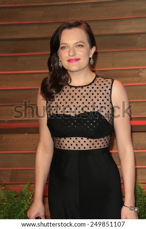 WEST HOLLYWOOD - MAR 2:: Elisabeth Moss at the 2014 Vanity Fair Oscar Party on March 2, 2014 in West Hollywood, California - stock photo