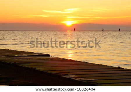 West Kirby, The Wirral, Merseyside, England, UK at sunset. - stock photo
