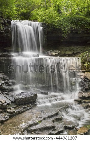 West Milton Cascades is an especially beautiful waterfall in Miami County, Ohio. - stock photo