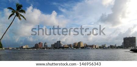 West Palm Beach, Florida / Palm Beach Panorama  - stock photo