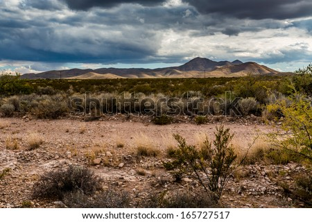 West Texas Landscape of Desert Area with Hills. - stock photo