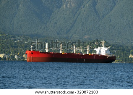 West Vancouver and red ship, British Columbia, Canada - stock photo