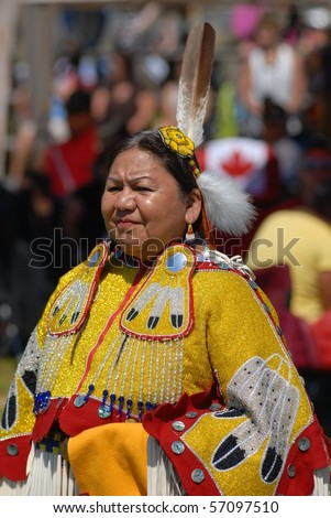 WEST VANCOUVER, BC, CANADA - JULY 10: Portrait of Native Indian woman taken during annual Squamish Nation Pow Wow on July 10, 2010 in West Vancouver, BC, Canada - stock photo