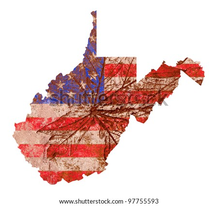 West Virginia state of the United States of America in grunge flag pattern isolated on white background - stock photo
