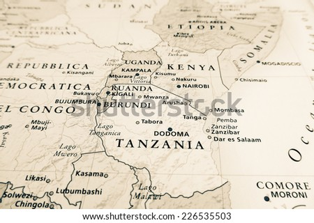 Western Africa map (Geographical view altered on colors/perspective and focus on the edge. Names can be partial or incomplete) - stock photo