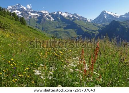 Western Alps, Italy, Aosta valleys, mountains near the frontier to Switzerland - stock photo