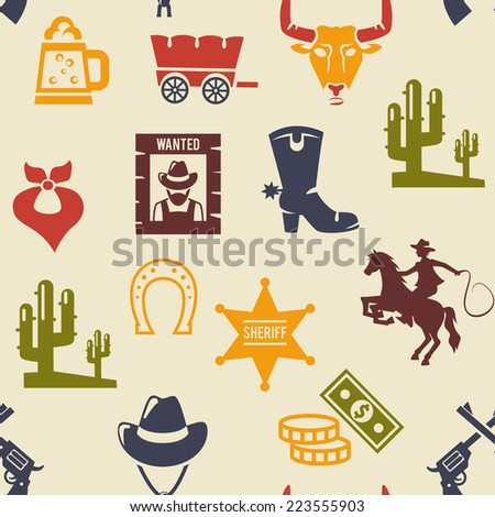 Western and rodeo seamless background pattern with colored silhouette icons of a wagon  bull  cowboy  stetson  boot  necktie  cactus  wanted poster  guns  and money - stock photo