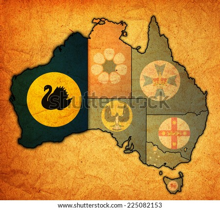 western australia flag on map of australia with administrative divisions - stock photo