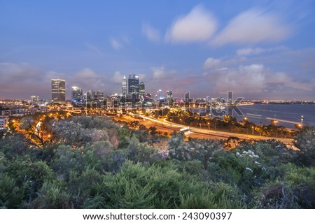 Western Australia - Golden Sunset View of Perth Skyline from King's Park - stock photo